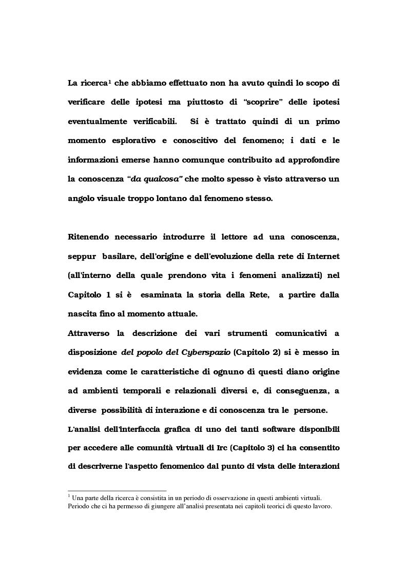 Anteprima della tesi: La comunicazione nelle comunità virtuali. Il chattista alla ricerca di Sè., Pagina 4