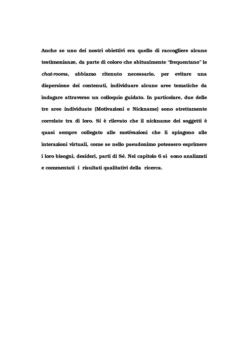 Anteprima della tesi: La comunicazione nelle comunità virtuali. Il chattista alla ricerca di Sè., Pagina 6