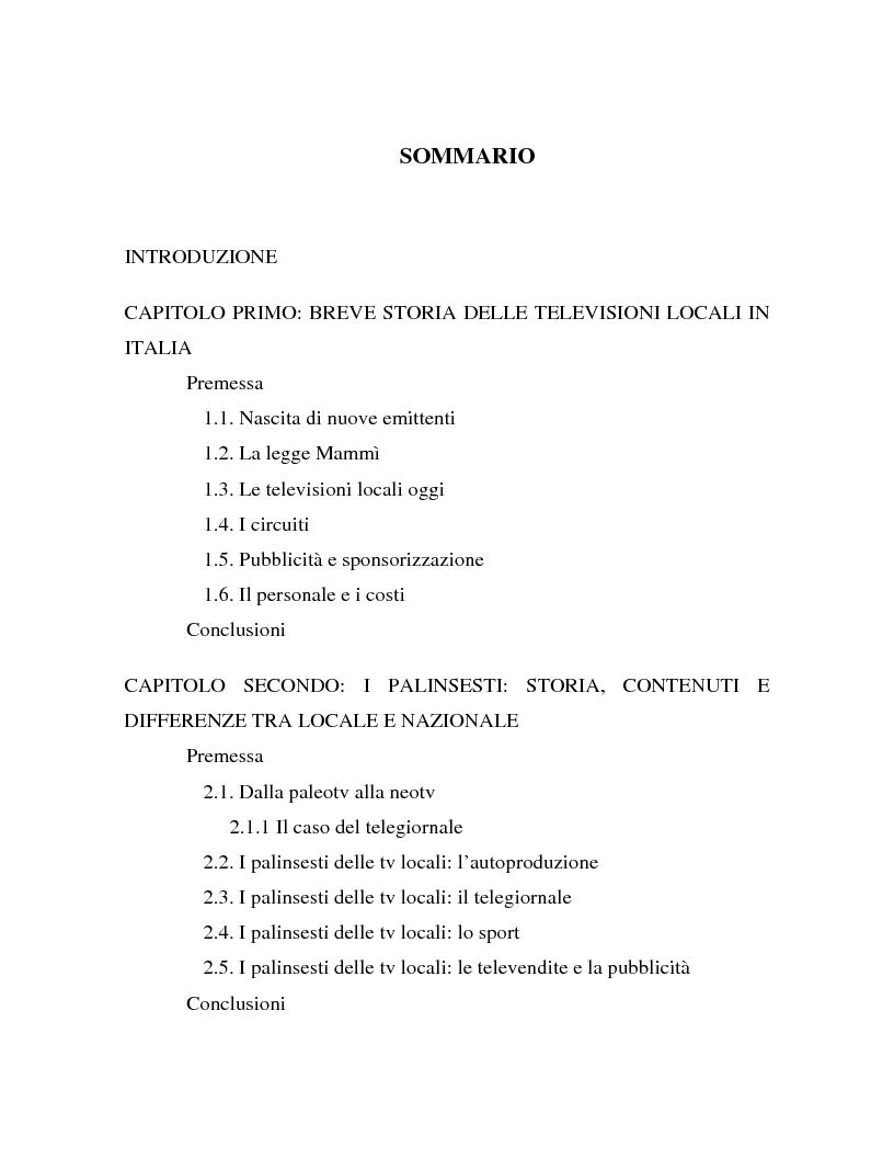 Indice della tesi: Palinsesti televisivi ed immagine di rete nelle televisioni locali: il caso di Bergamo tv, Pagina 1