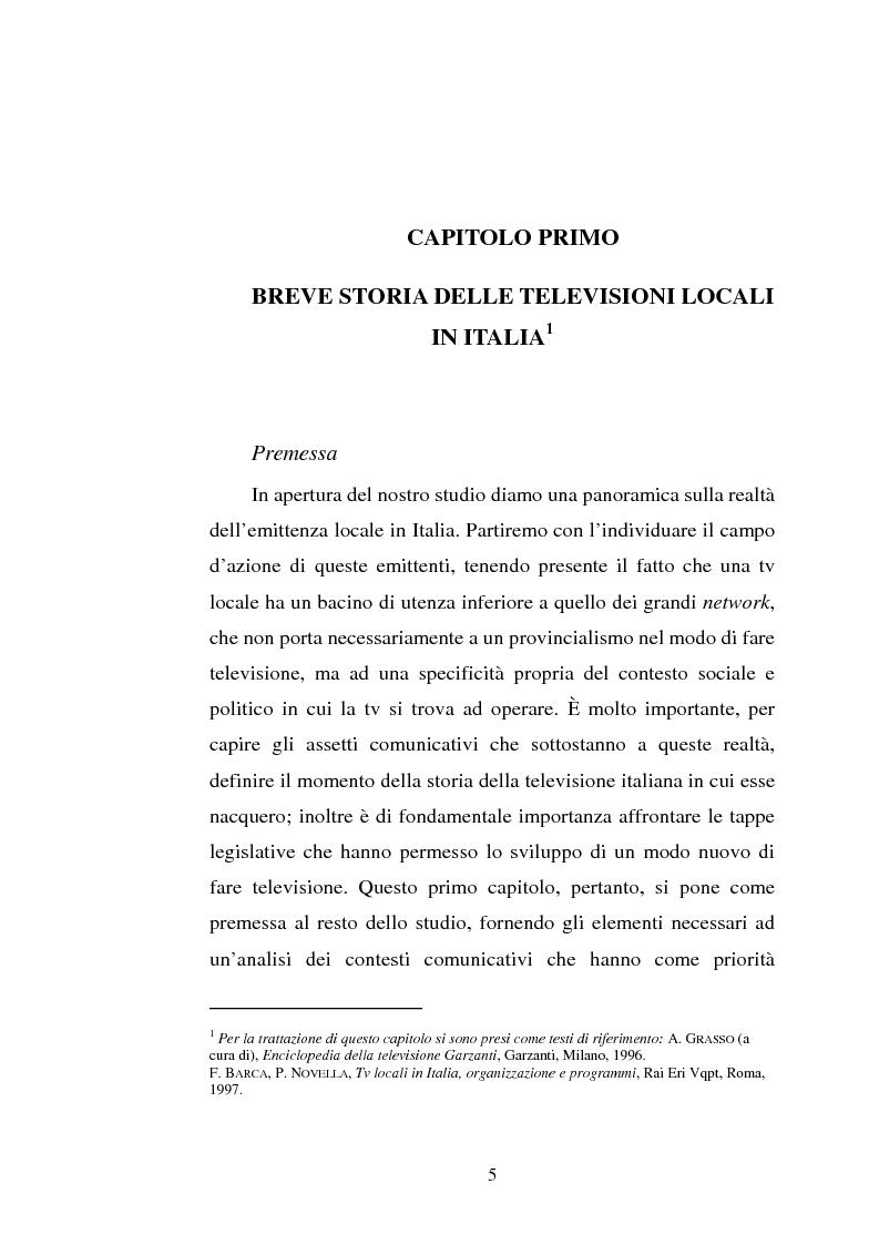 Anteprima della tesi: Palinsesti televisivi ed immagine di rete nelle televisioni locali: il caso di Bergamo tv, Pagina 1