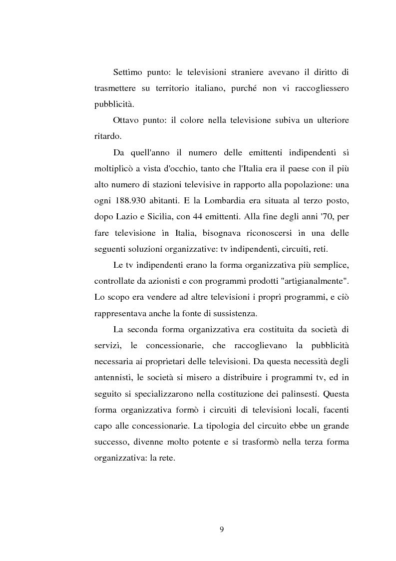 Anteprima della tesi: Palinsesti televisivi ed immagine di rete nelle televisioni locali: il caso di Bergamo tv, Pagina 5
