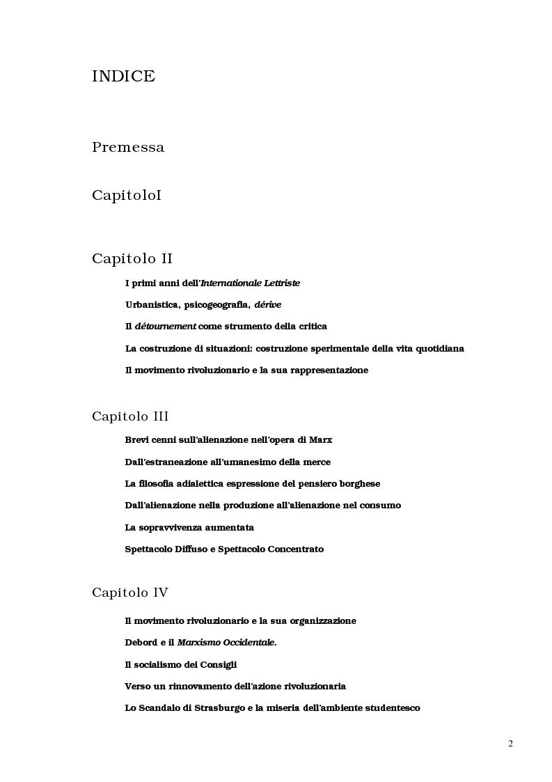 Indice della tesi: Guy Debord - Tra avanguardia e critica sociale, Pagina 1