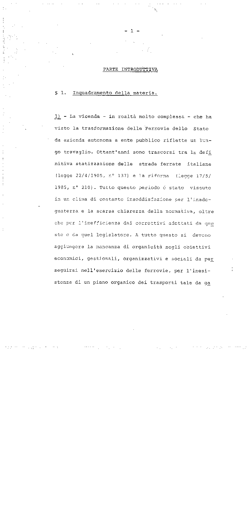 Anteprima della tesi: La trasformazione delle Ferrovie dello Stato - Legge 210/85, Pagina 1