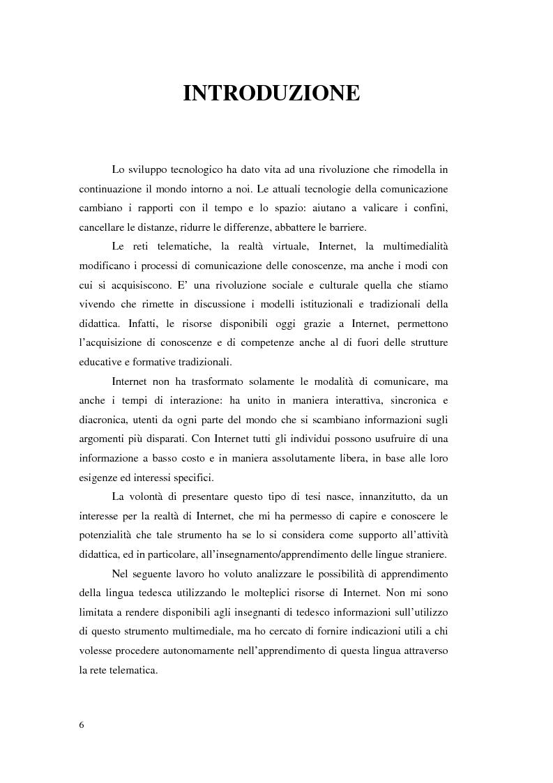 Anteprima della tesi: Internet e l'apprendimento della lingua tedesca online, Pagina 1