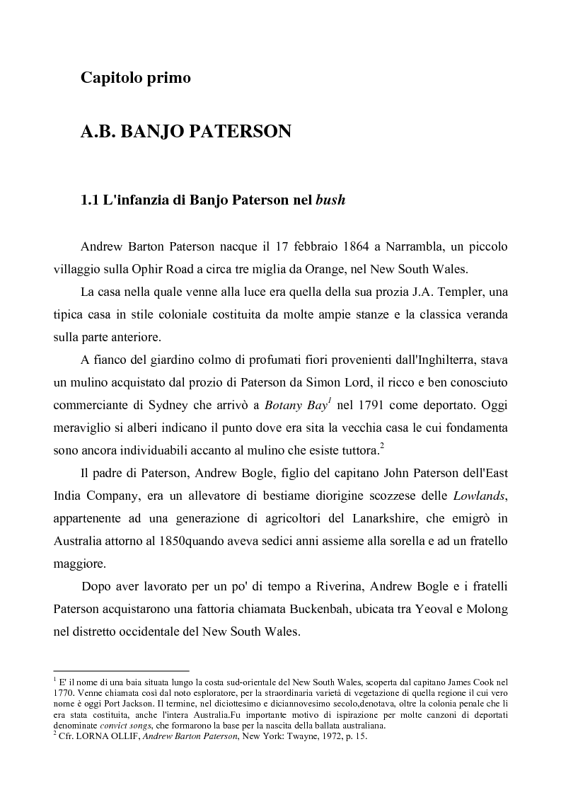 """Anteprima della tesi: """"Banjo"""" Paterson: la ballata e il bush, Pagina 1"""