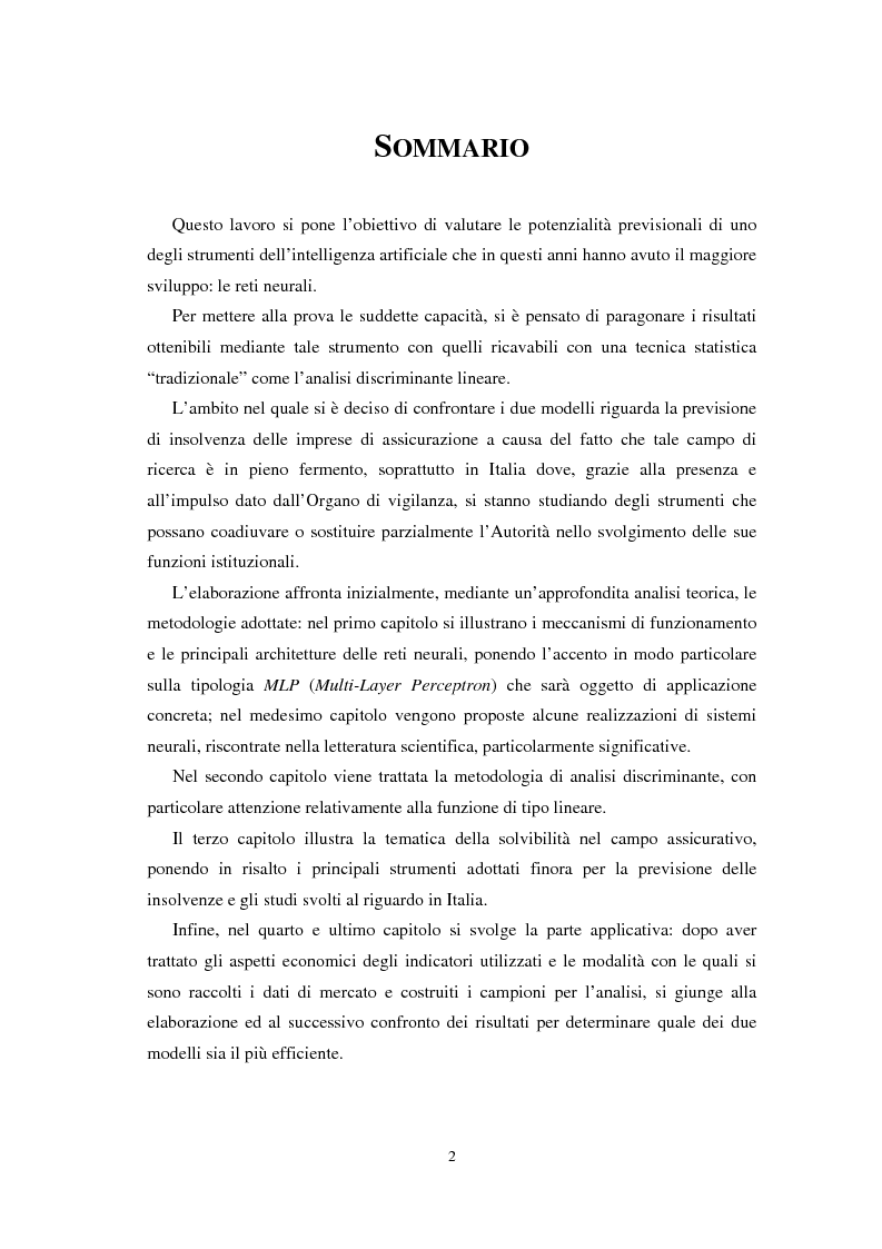 Anteprima della tesi: Applicazioni statistiche delle reti neurali alle insolvenze delle compagnie di assicurazione, Pagina 1