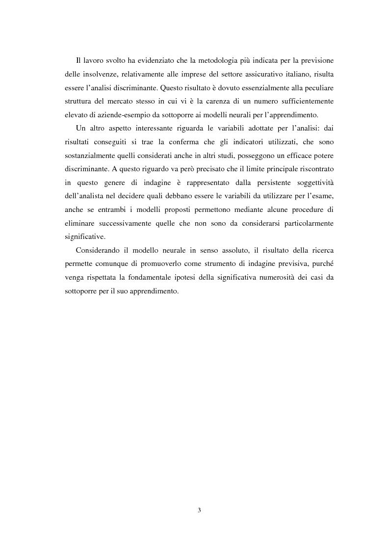Anteprima della tesi: Applicazioni statistiche delle reti neurali alle insolvenze delle compagnie di assicurazione, Pagina 2