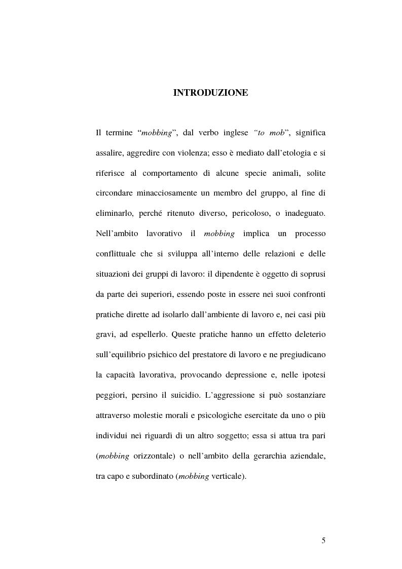 Anteprima della tesi: Il fenomeno del mobbing: la tutela del lavoratore, Pagina 1