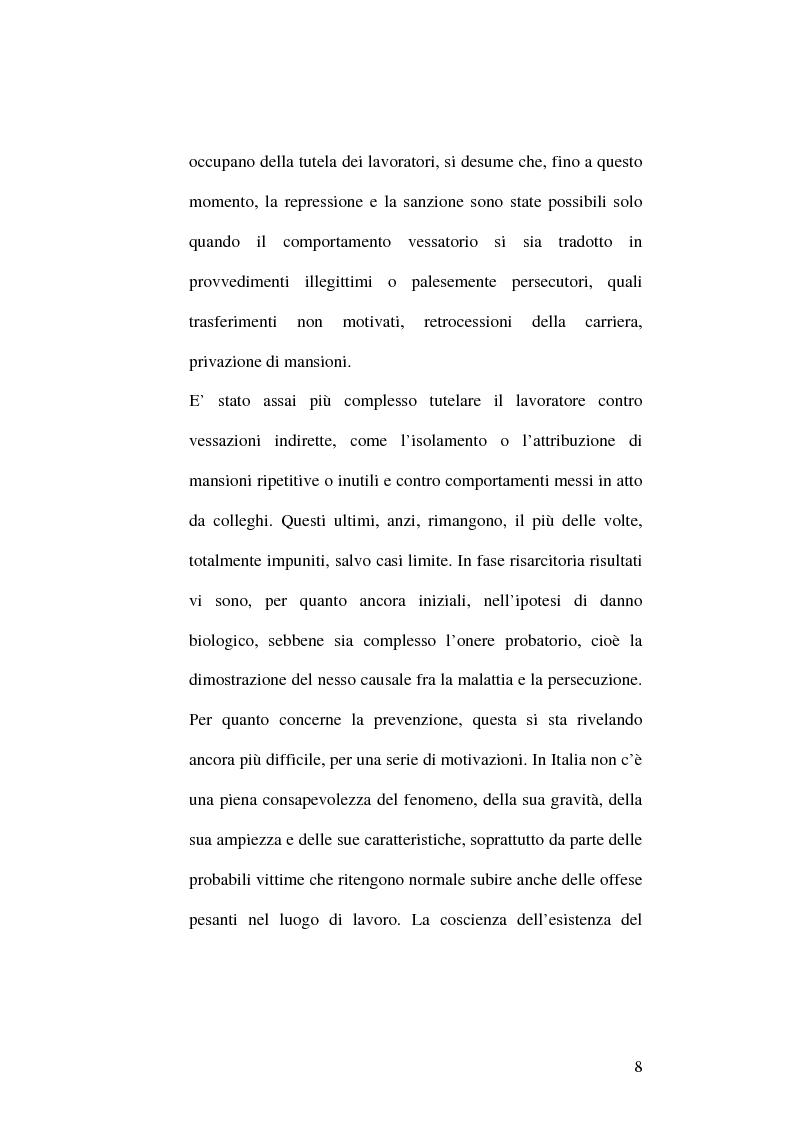 Anteprima della tesi: Il fenomeno del mobbing: la tutela del lavoratore, Pagina 4