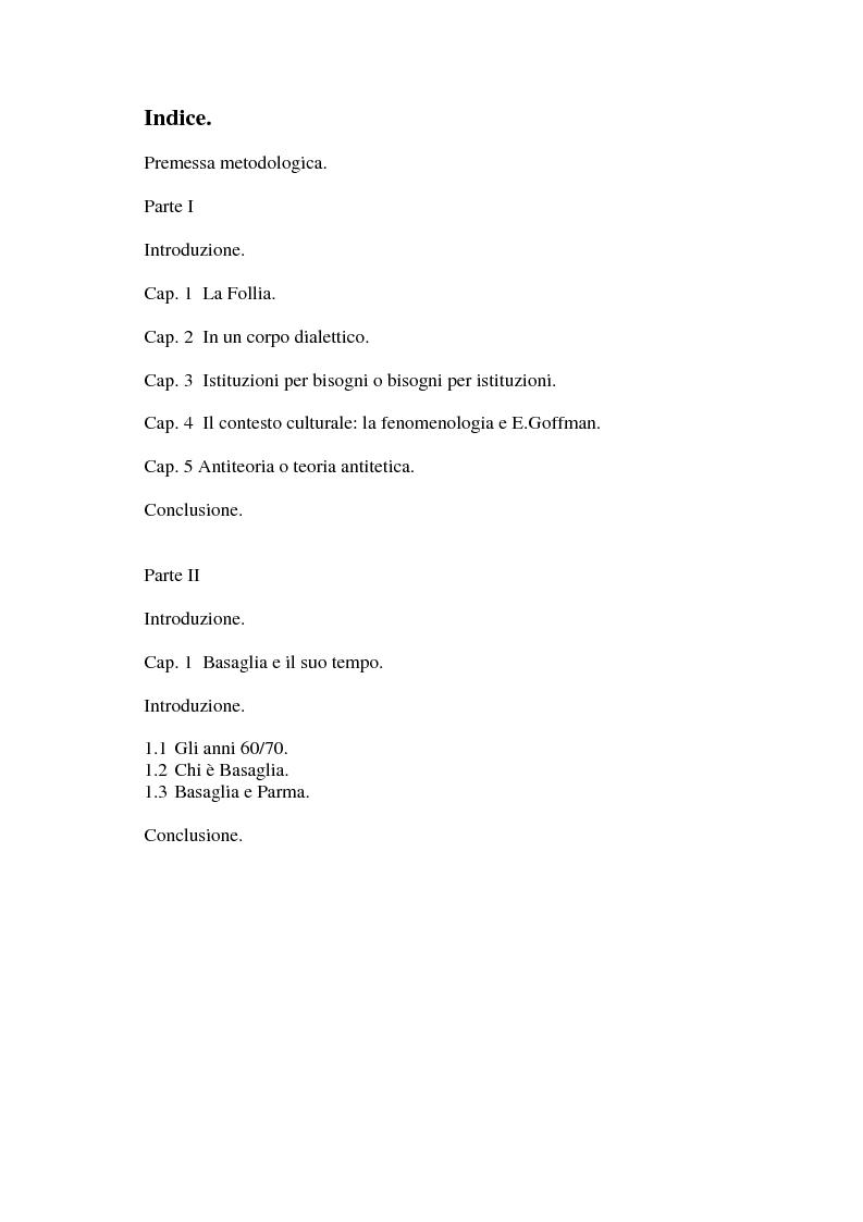 Indice della tesi: L'eredità basagliana, Pagina 1