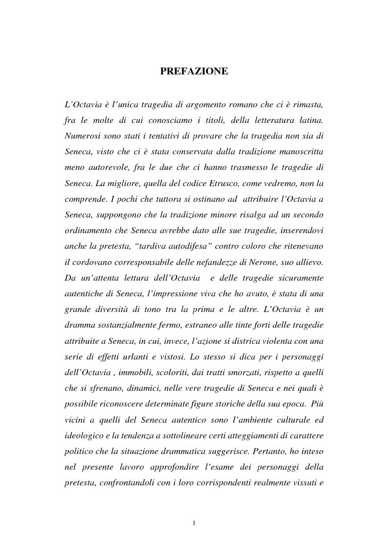 Anteprima della tesi: Ricerche sull'Octavia, Pagina 1