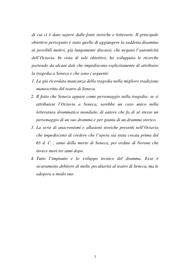 Anteprima della tesi: Ricerche sull'Octavia, Pagina 2