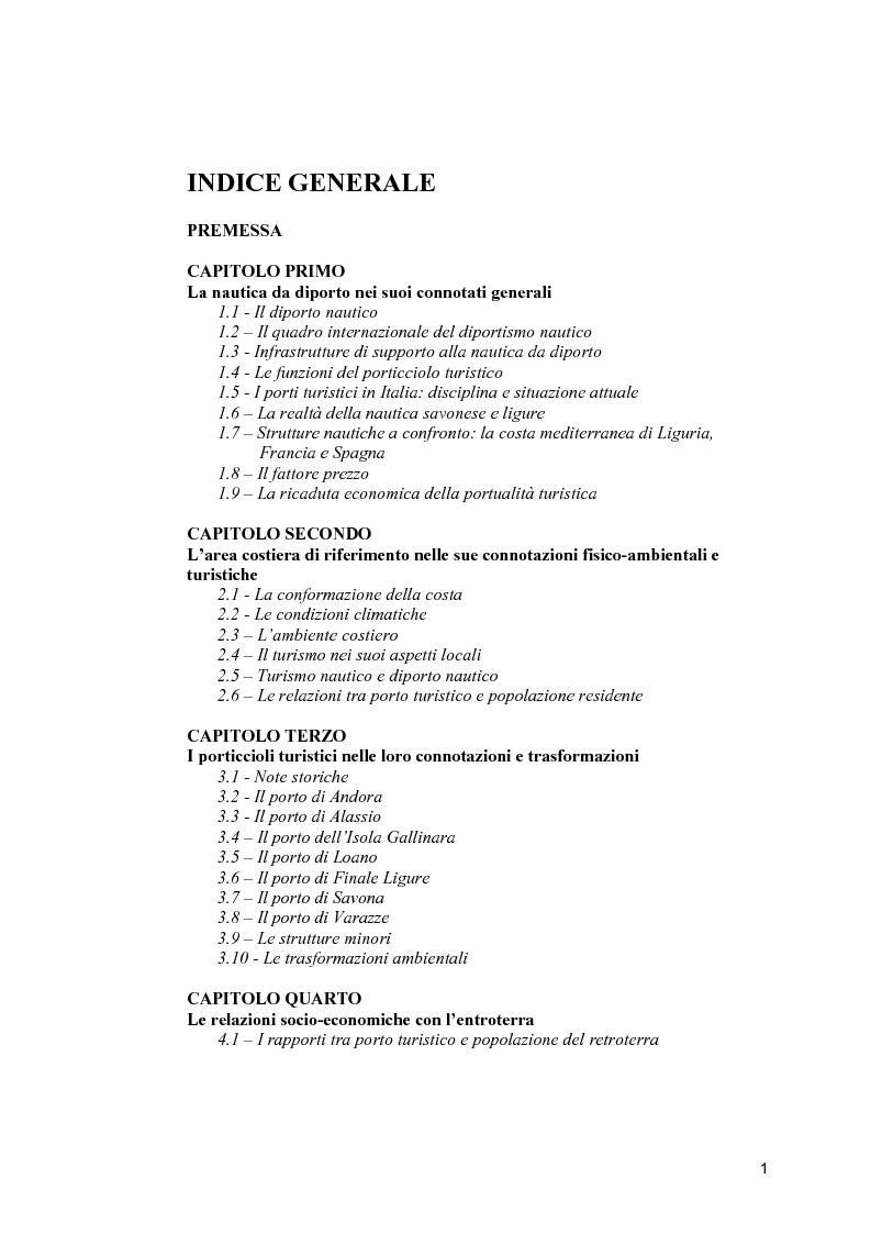Indice della tesi: Strutture portuali e spazio relazionale: il caso della nautica da diporto nel Savonese, Pagina 1