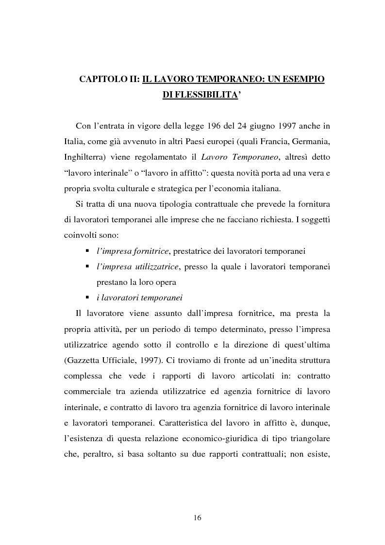 Anteprima della tesi: Flessibilità e mediazione del lavoro temporaneo: un caso aziendale, Pagina 13