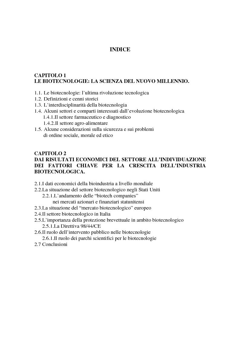 Indice della tesi: La valutazione delle aziende biotecnologiche: i possibili ambiti d'intervento degli intermediari finanziari, Pagina 1