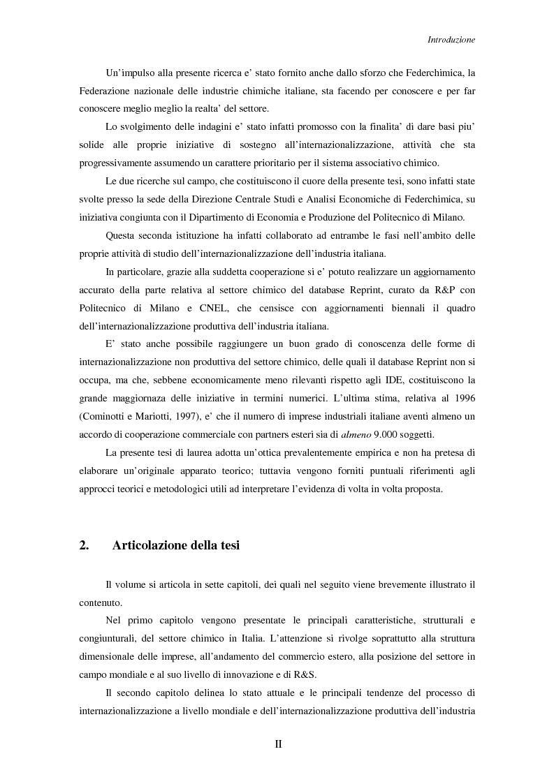 Anteprima della tesi: Le strategie di internazionalizzazione delle piccole e medie imprese chimiche italiane, Pagina 2