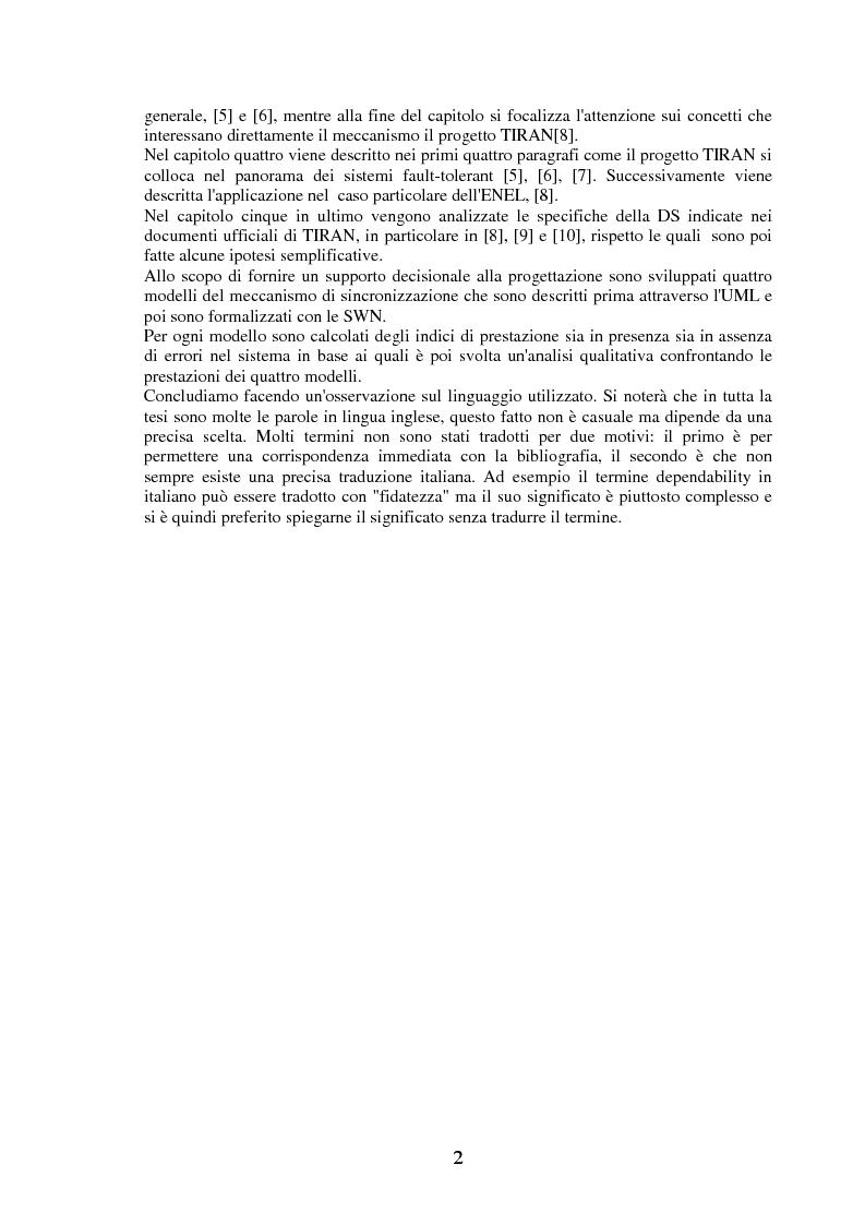 Anteprima della tesi: La modellizzazione di sistemi tolleranti ai guasti con Gspn e Uml e sua applicazione nel progetto Tiran, Pagina 2