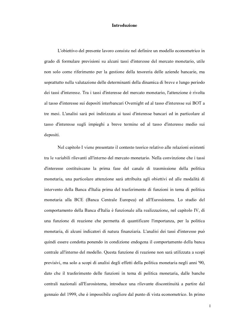 Anteprima della tesi: Un modello econometrico per l'analisi e la previsione dei tassi d'interesse nel mercato monetario, Pagina 1