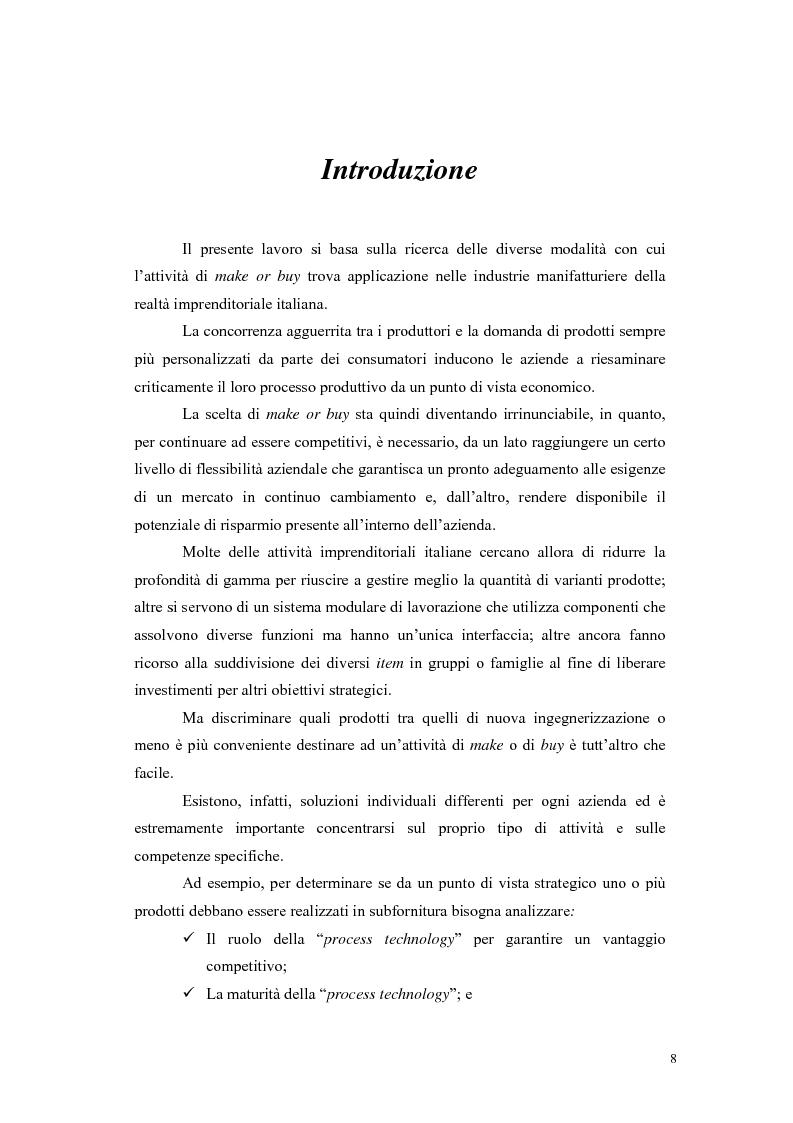 Anteprima della tesi: Sviluppo e implementazione di un modello operativo per le scelte di make or buy, Pagina 1