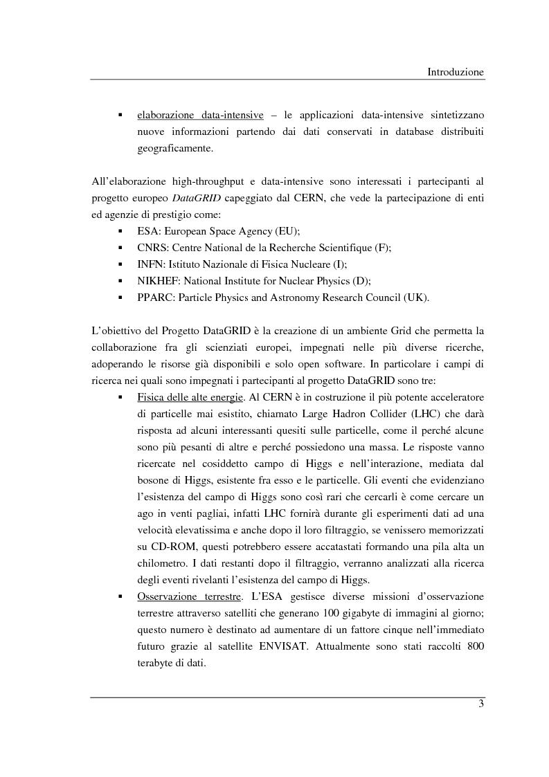 Anteprima della tesi: Simulazione di griglie computazionali: applicazione al progetto DataGRID, Pagina 3