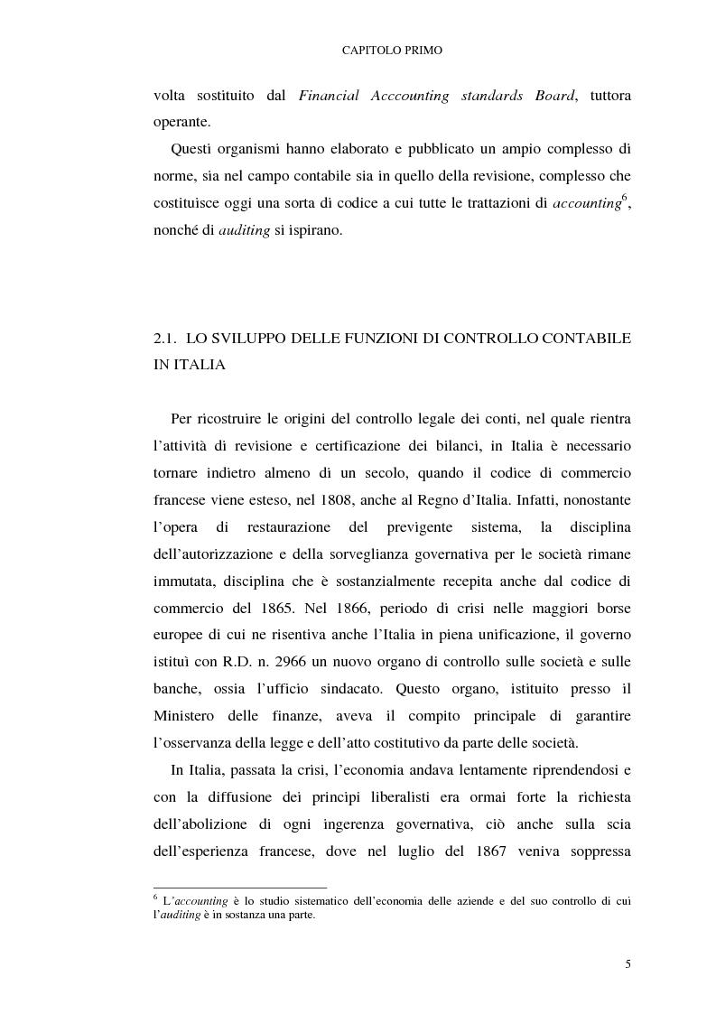 Anteprima della tesi: I mutamenti della revisione contabile alla luce del testo unico della finanza, Pagina 5
