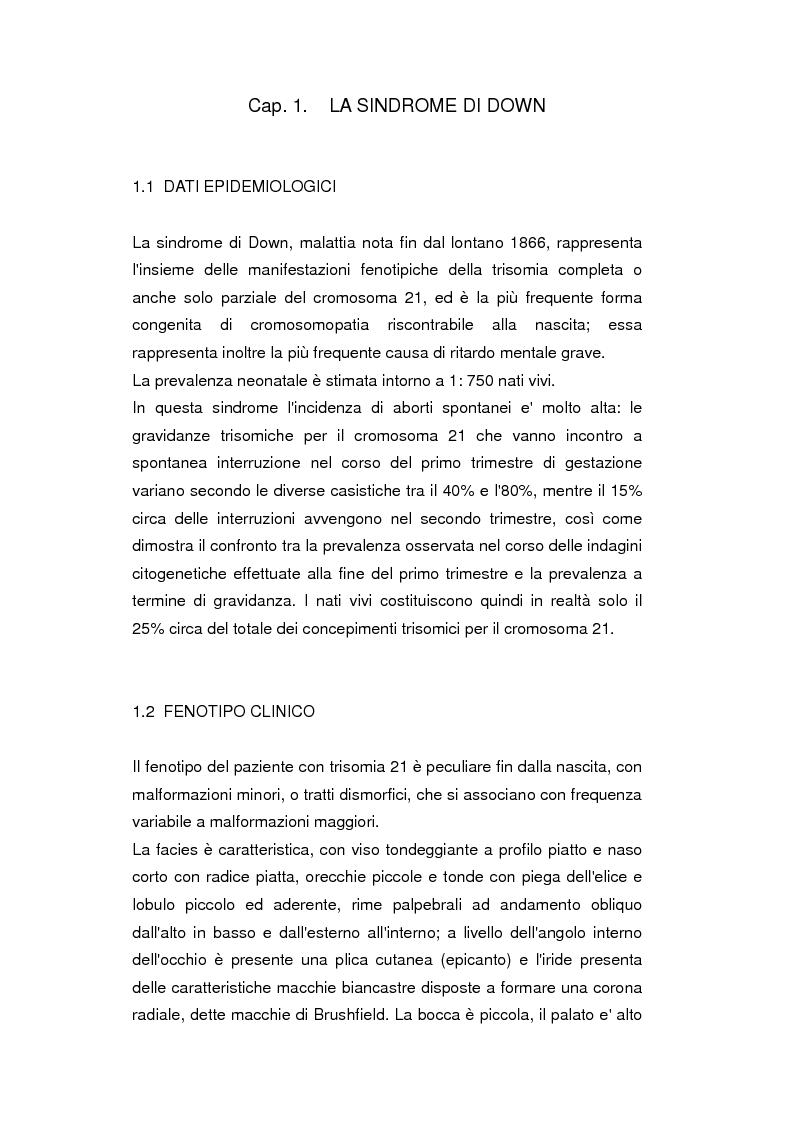 Anteprima della tesi: Uso del Triplo-Test nello screening della trisomia 21 e dei difetti del tubo neurale, Pagina 1