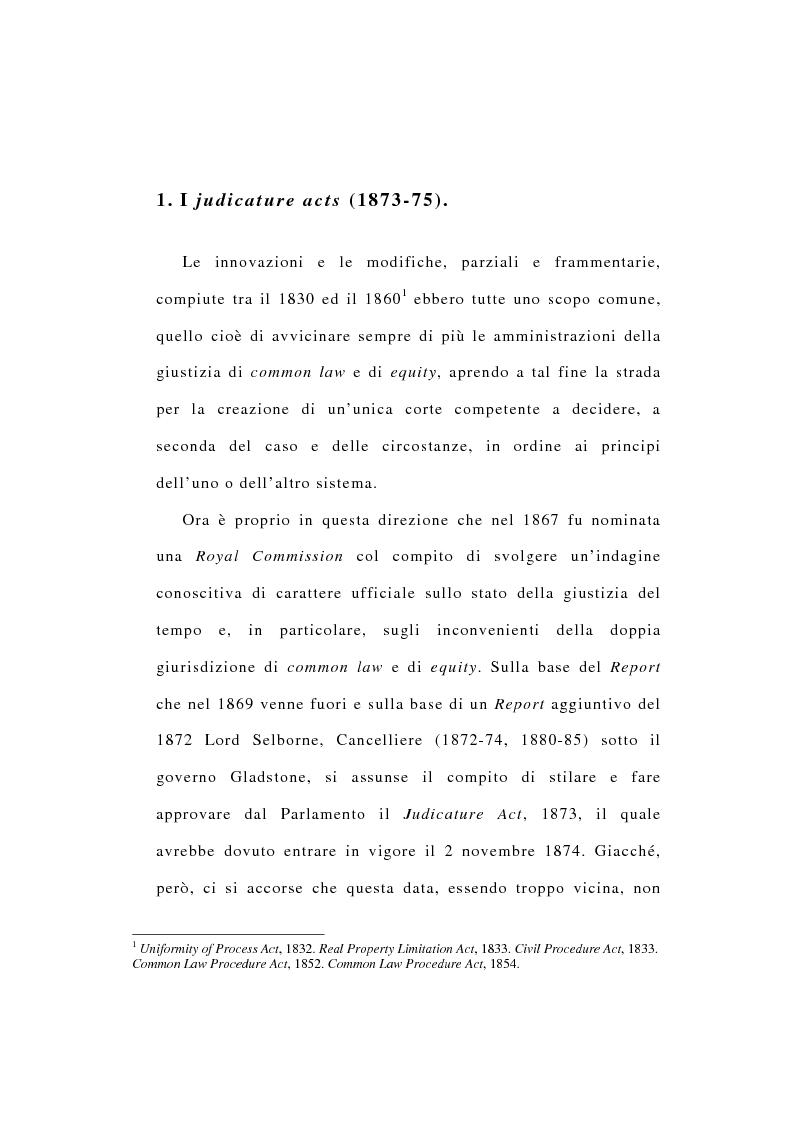 Anteprima della tesi: La riforma dell'ordinamento giudiziario nell'Inghilterra di fine '800, Pagina 2
