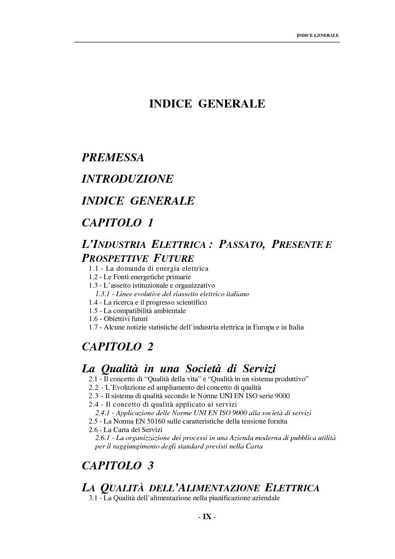 Indice della tesi: Sulla qualità del servizio elettrico alle utenze, Pagina 1