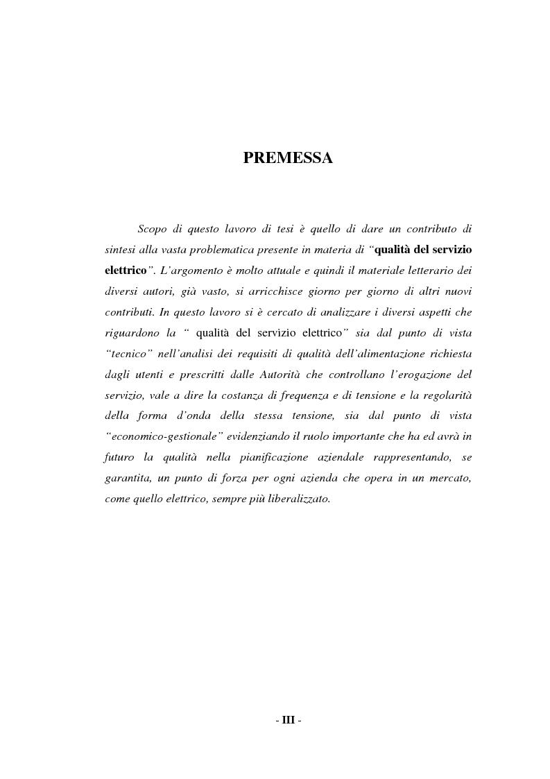 Anteprima della tesi: Sulla qualità del servizio elettrico alle utenze, Pagina 1