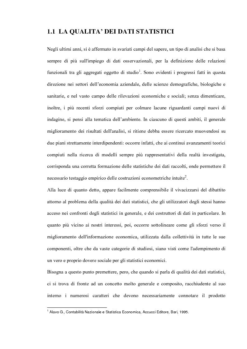Anteprima della tesi: Il miglioramento della qualità dei dati statistici, Pagina 2