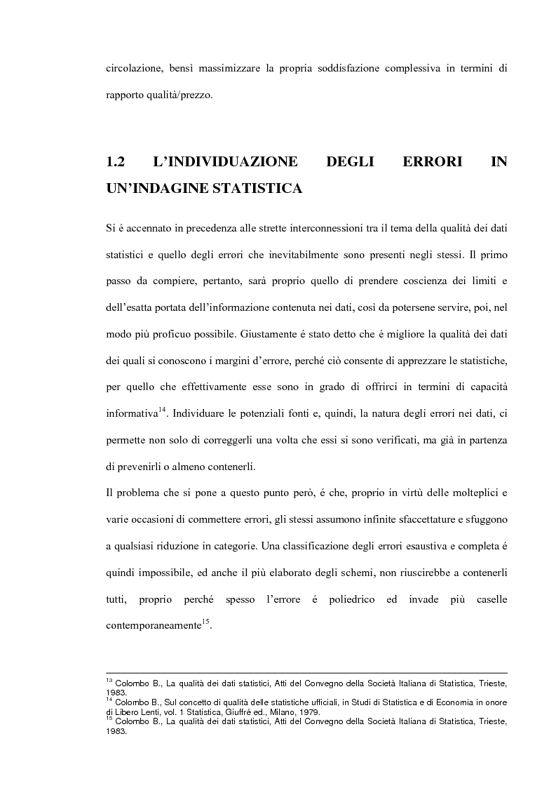 Anteprima della tesi: Il miglioramento della qualità dei dati statistici, Pagina 7