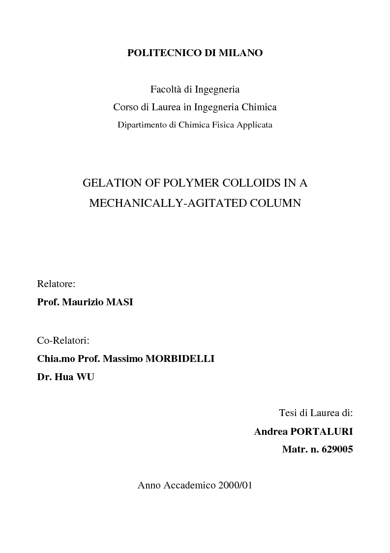 Anteprima della tesi: Gelation of polymer colloids in a mechnically agitated column, Pagina 1
