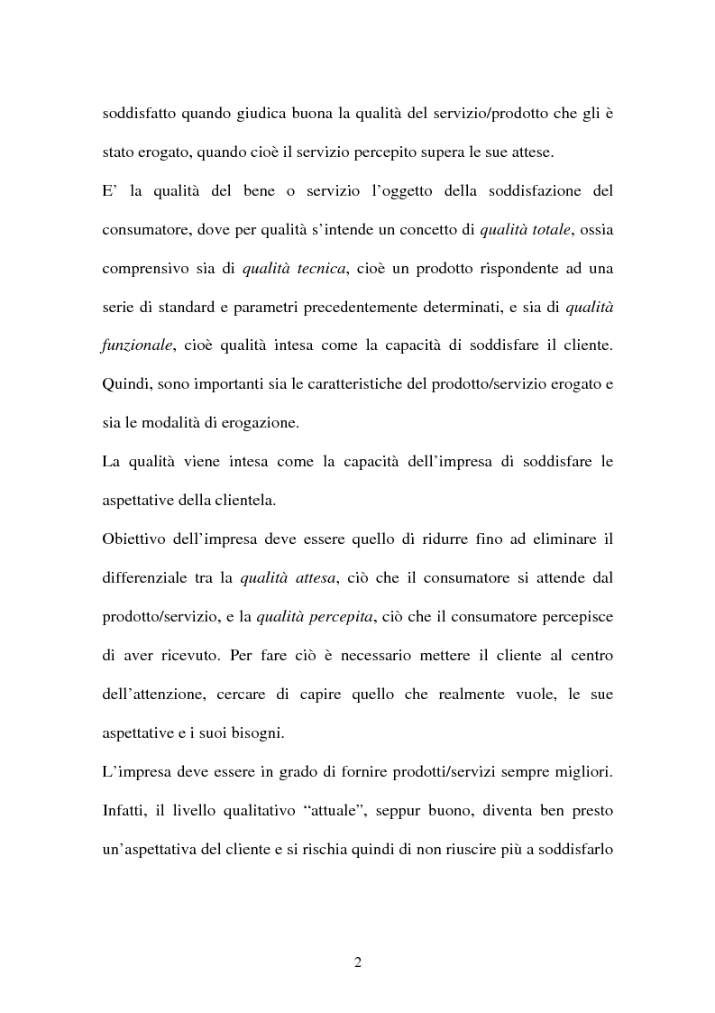 Anteprima della tesi: Customer satisfaction: la chiave del successo dell'impresa, Pagina 2
