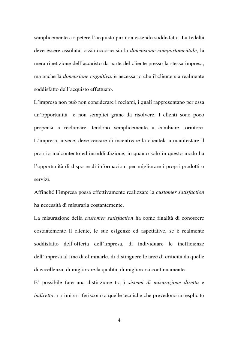 Anteprima della tesi: Customer satisfaction: la chiave del successo dell'impresa, Pagina 4