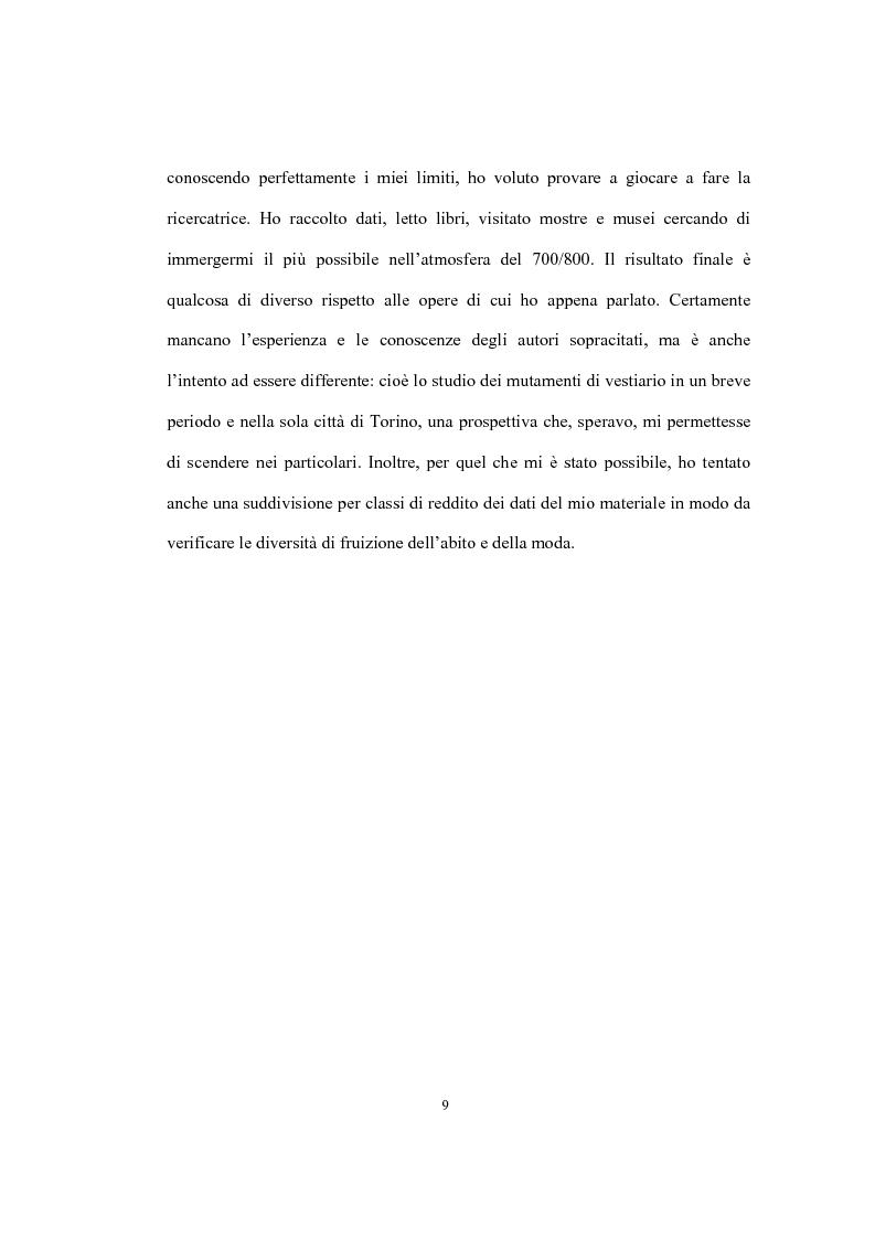 Anteprima della tesi: Mi vesto alla moda. Abbigliamento femminile a Torino tra Antico regime e restaurazione., Pagina 5