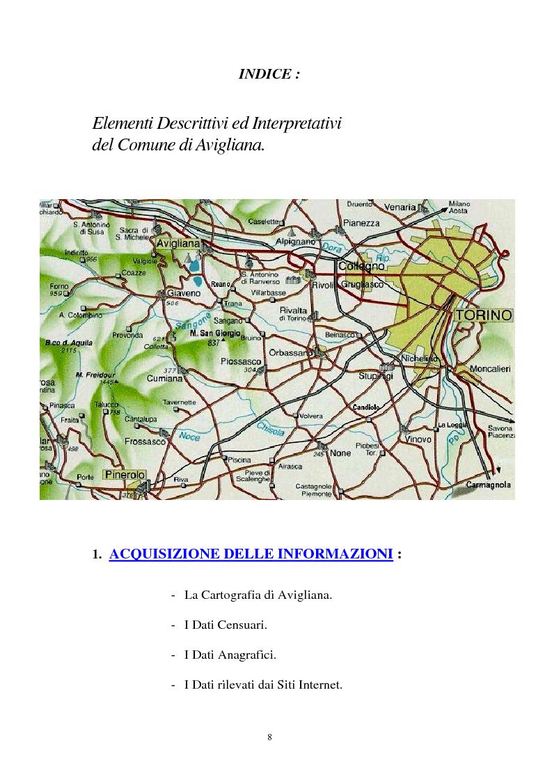 Indice della tesi: Il Piano Regolatore Generale di Avigliana (To). Esame della sua formazione, Pagina 1