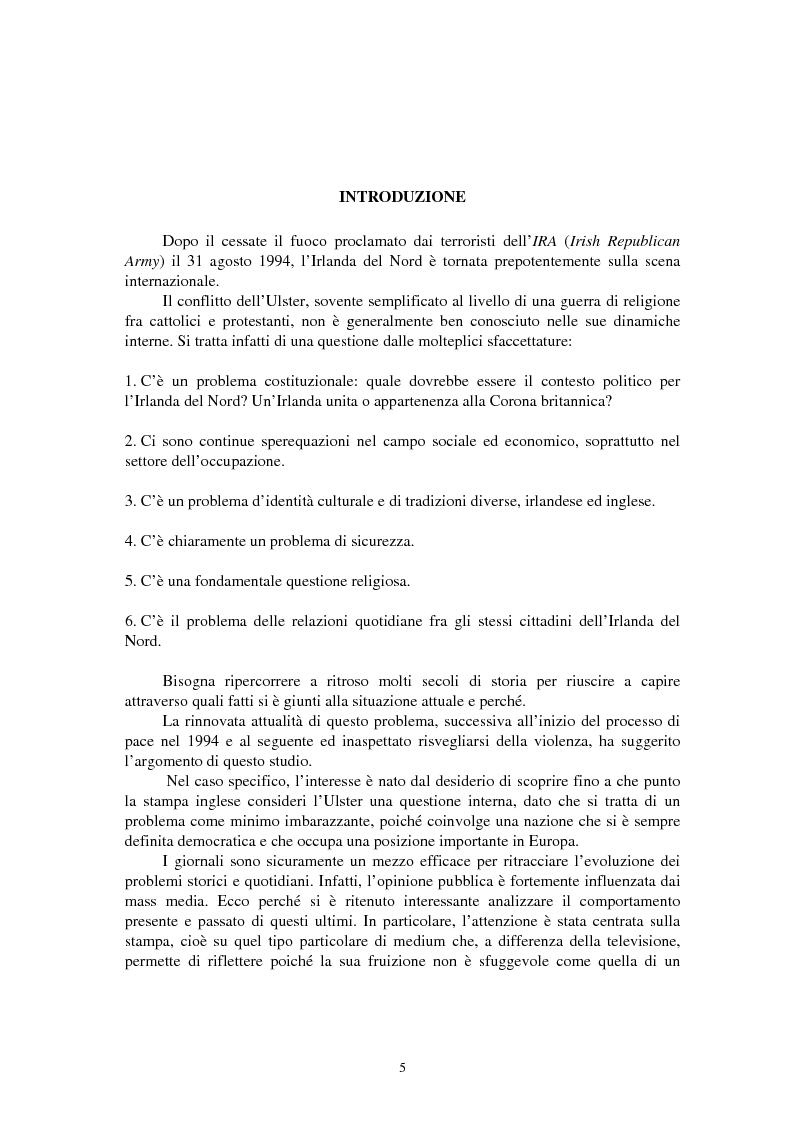 Anteprima della tesi: La questione irlandese sui quotidiani inglesi degli ultimi vent'anni, Pagina 1