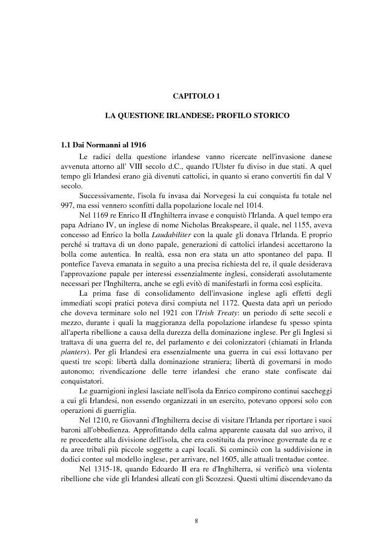 Anteprima della tesi: La questione irlandese sui quotidiani inglesi degli ultimi vent'anni, Pagina 4