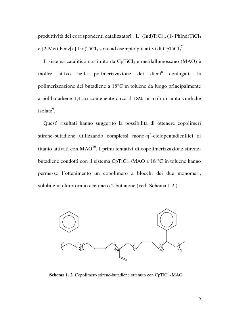 Anteprima della tesi: Copolimerizzazione stirene-butadiene catalizzata da complessi monociclopentadienilici di Ti(IV), Pagina 3