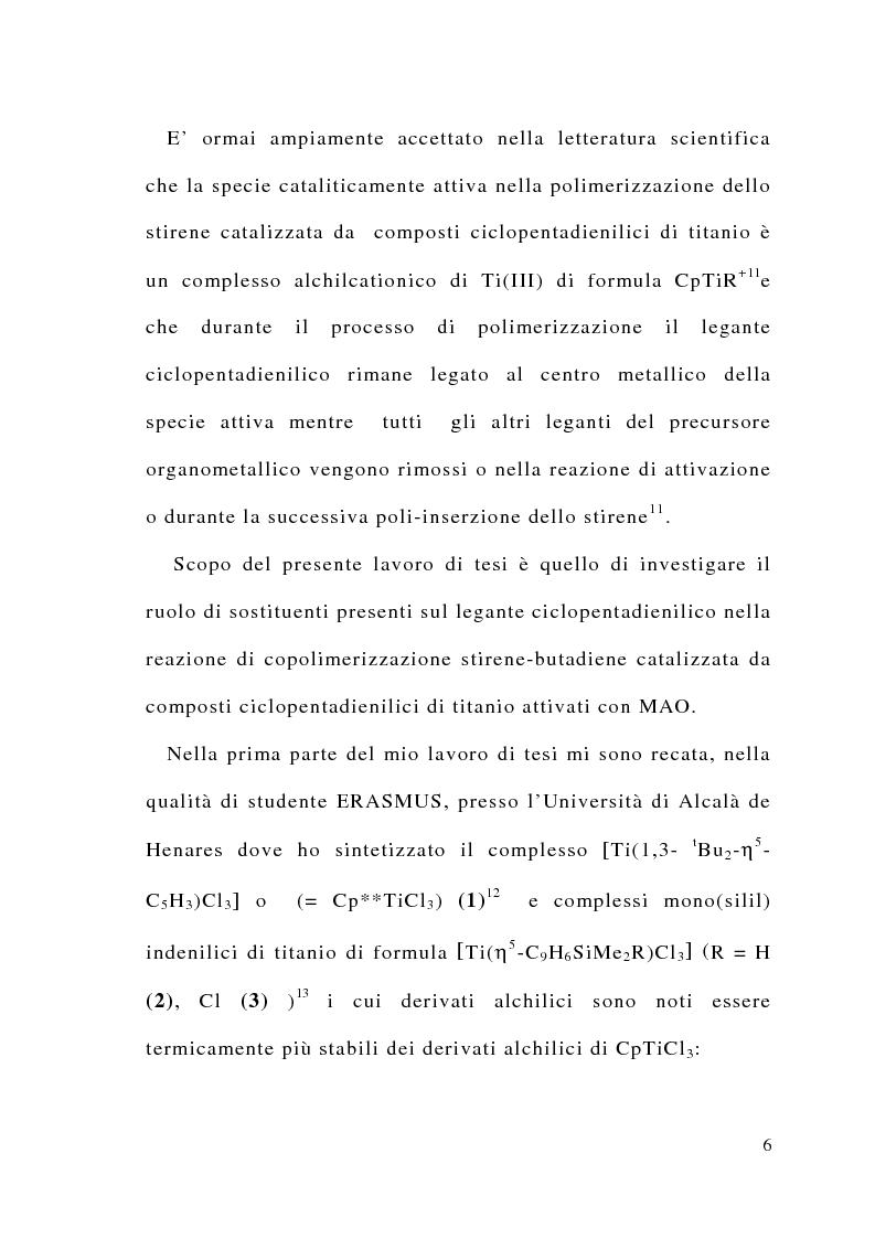 Anteprima della tesi: Copolimerizzazione stirene-butadiene catalizzata da complessi monociclopentadienilici di Ti(IV), Pagina 4