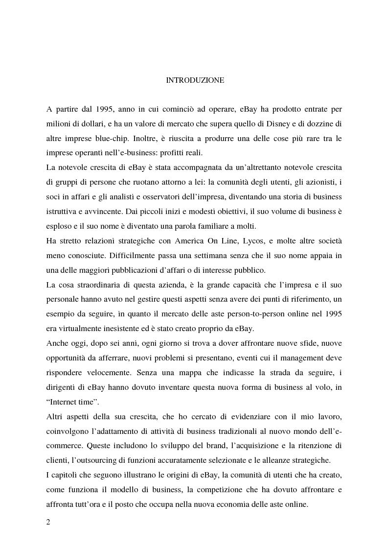 Anteprima della tesi: Profitti e Internet: il caso eBay, Pagina 1