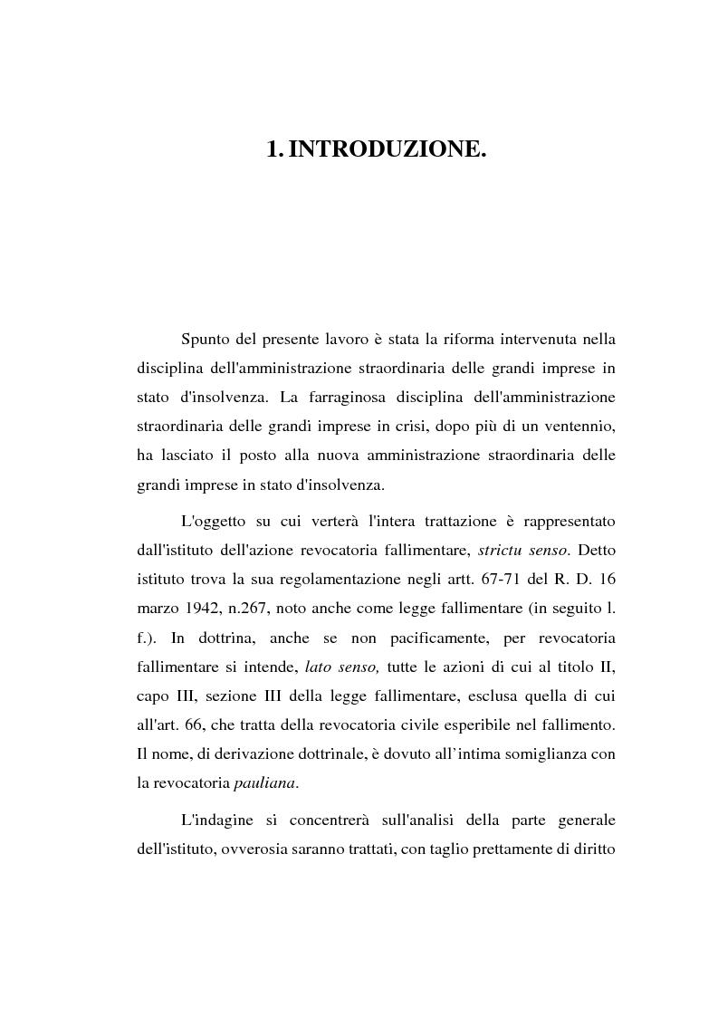 Anteprima della tesi: La revocatoria nel fallimento e nell'amministrazione straordinaria delle grandi imprese in stato d'insolvenza, Pagina 1
