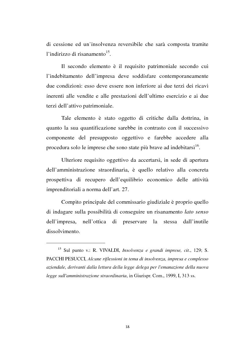 Anteprima della tesi: La revocatoria nel fallimento e nell'amministrazione straordinaria delle grandi imprese in stato d'insolvenza, Pagina 14