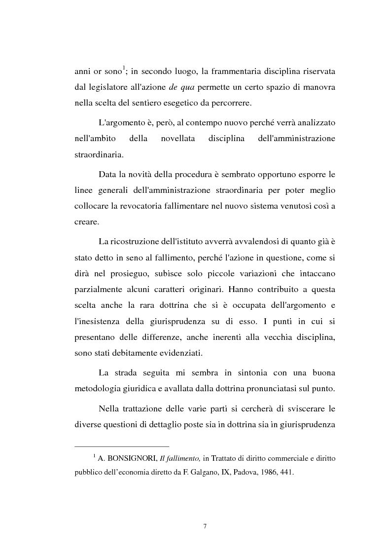 Anteprima della tesi: La revocatoria nel fallimento e nell'amministrazione straordinaria delle grandi imprese in stato d'insolvenza, Pagina 3