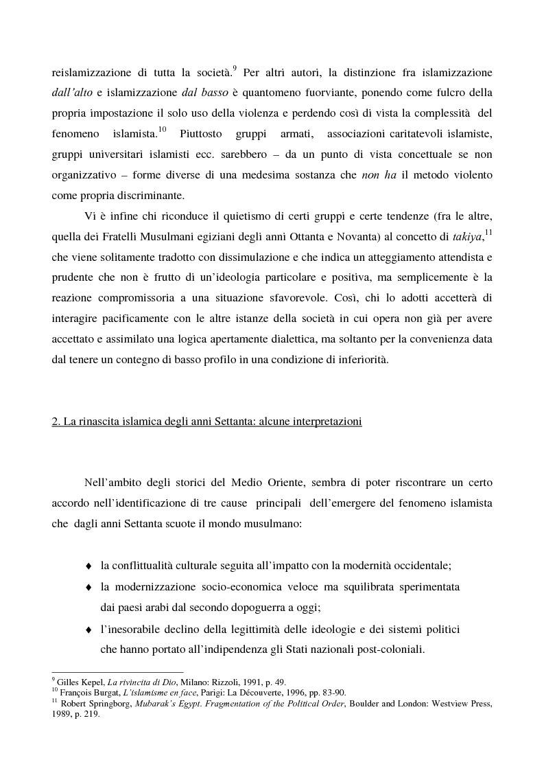 Anteprima della tesi: I movimenti islamisti egiziani e la presidenza Mubarak, Pagina 12