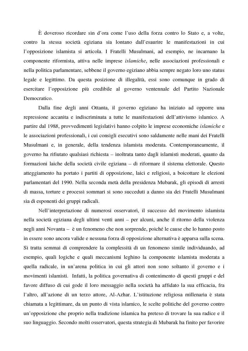 Anteprima della tesi: I movimenti islamisti egiziani e la presidenza Mubarak, Pagina 2