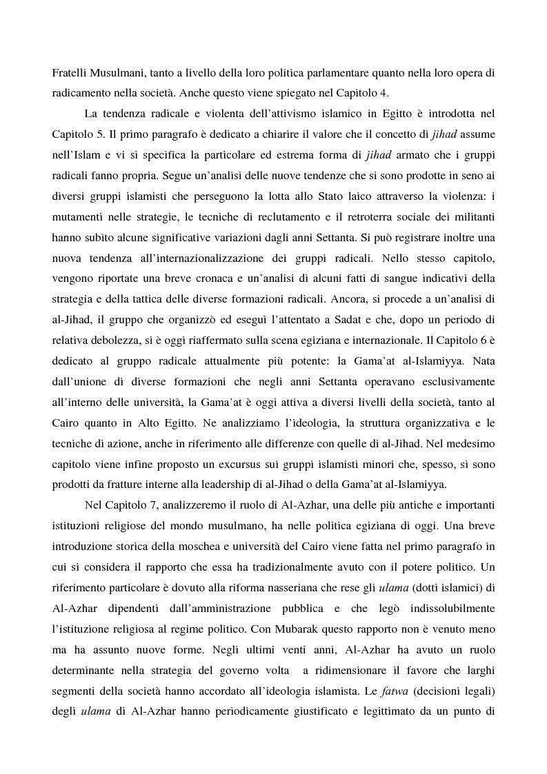 Anteprima della tesi: I movimenti islamisti egiziani e la presidenza Mubarak, Pagina 5