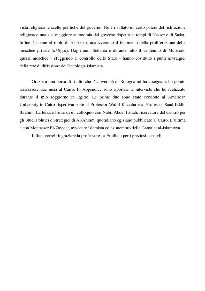 Anteprima della tesi: I movimenti islamisti egiziani e la presidenza Mubarak, Pagina 6