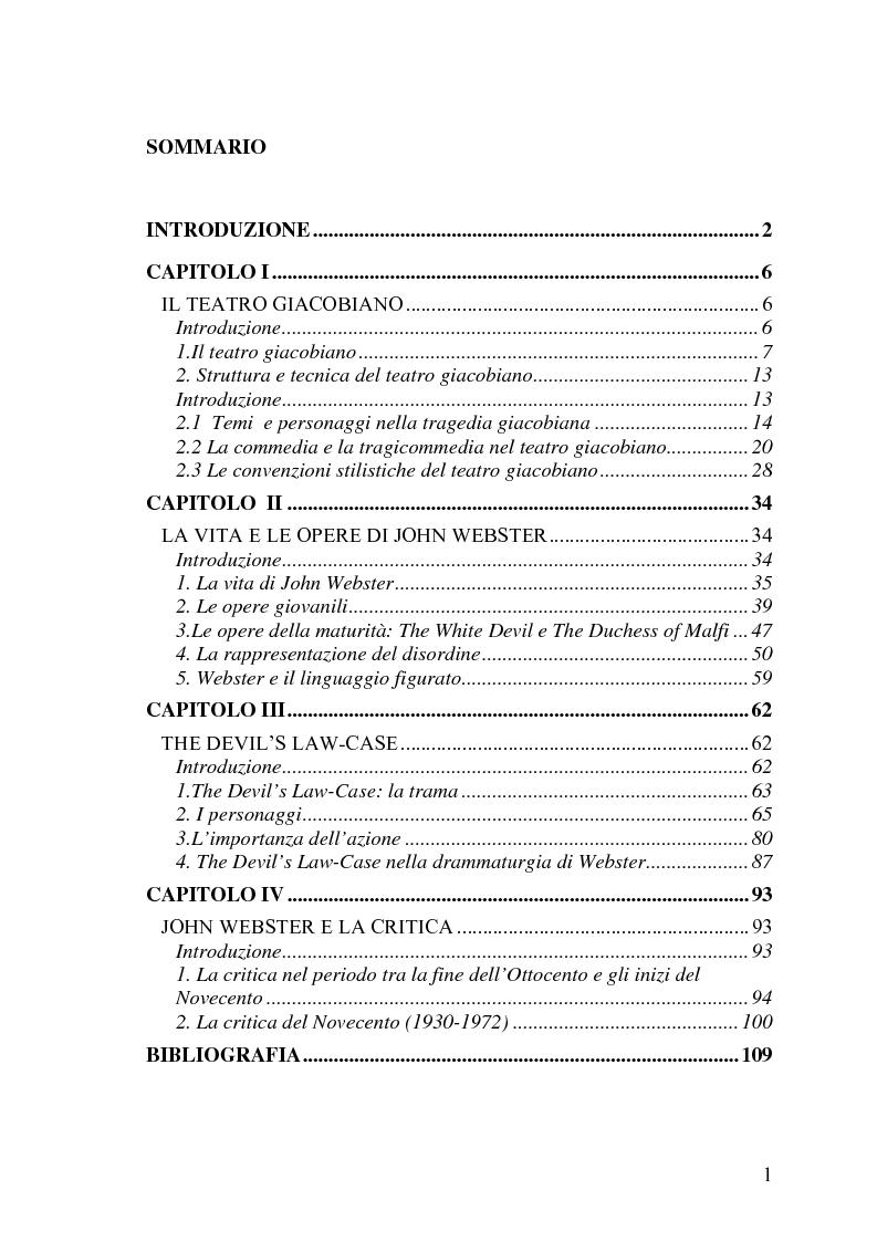 Indice della tesi: The Devil's Law-Case: la tragicommedia nel teatro di John Webster, Pagina 1