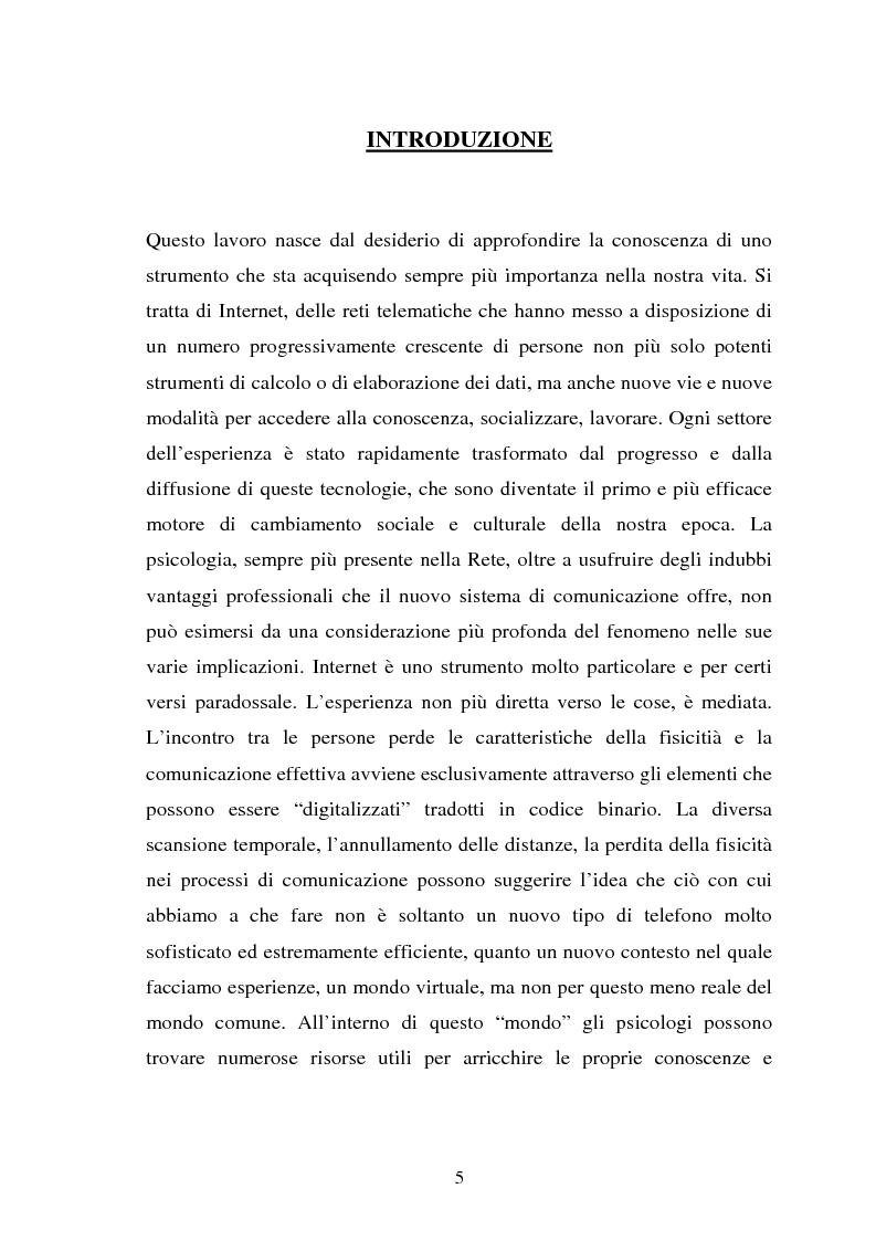 Anteprima della tesi: Internet come strumento e risorsa per lo psicologo clinico, Pagina 1